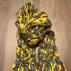 Extra Chunky Wool Scarf - Green, Yellow and Grey